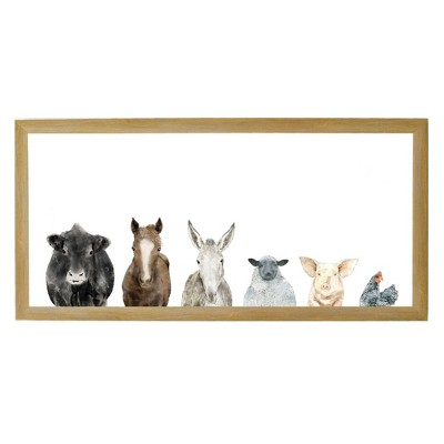"28"" x 14"" Farm Animals Art Board Rustic Brown - Petal Lane"