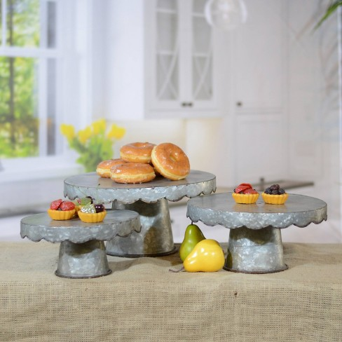 Decorative Metal Cake Stand Silver 3pk - VIP Home & Garden - image 1 of 2