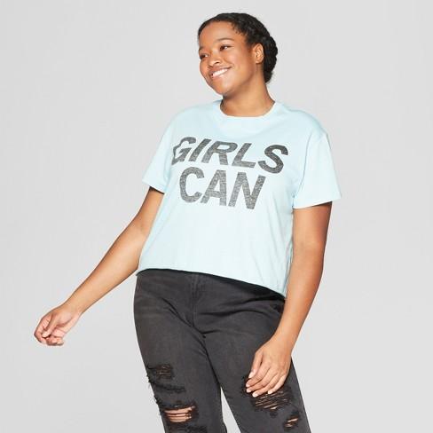 623b90a760e Women s Plus Size Short Sleeve Girls Can Cropped T-Shirt - Mighty Fine ( Juniors ) - Blue