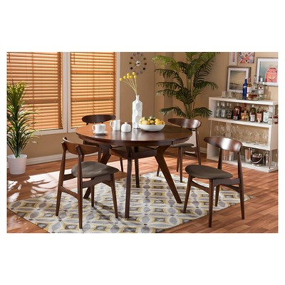 Flamingo Mid Century 5 Piece Dining Set   Brown Walnut/Gray   Baxton Studio
