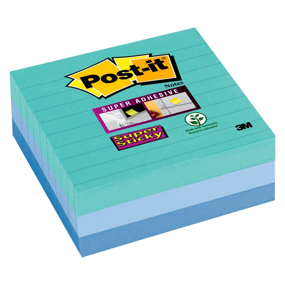 Post-it Sticky Notes 4in x 4in, Yellow/Gray/Blue