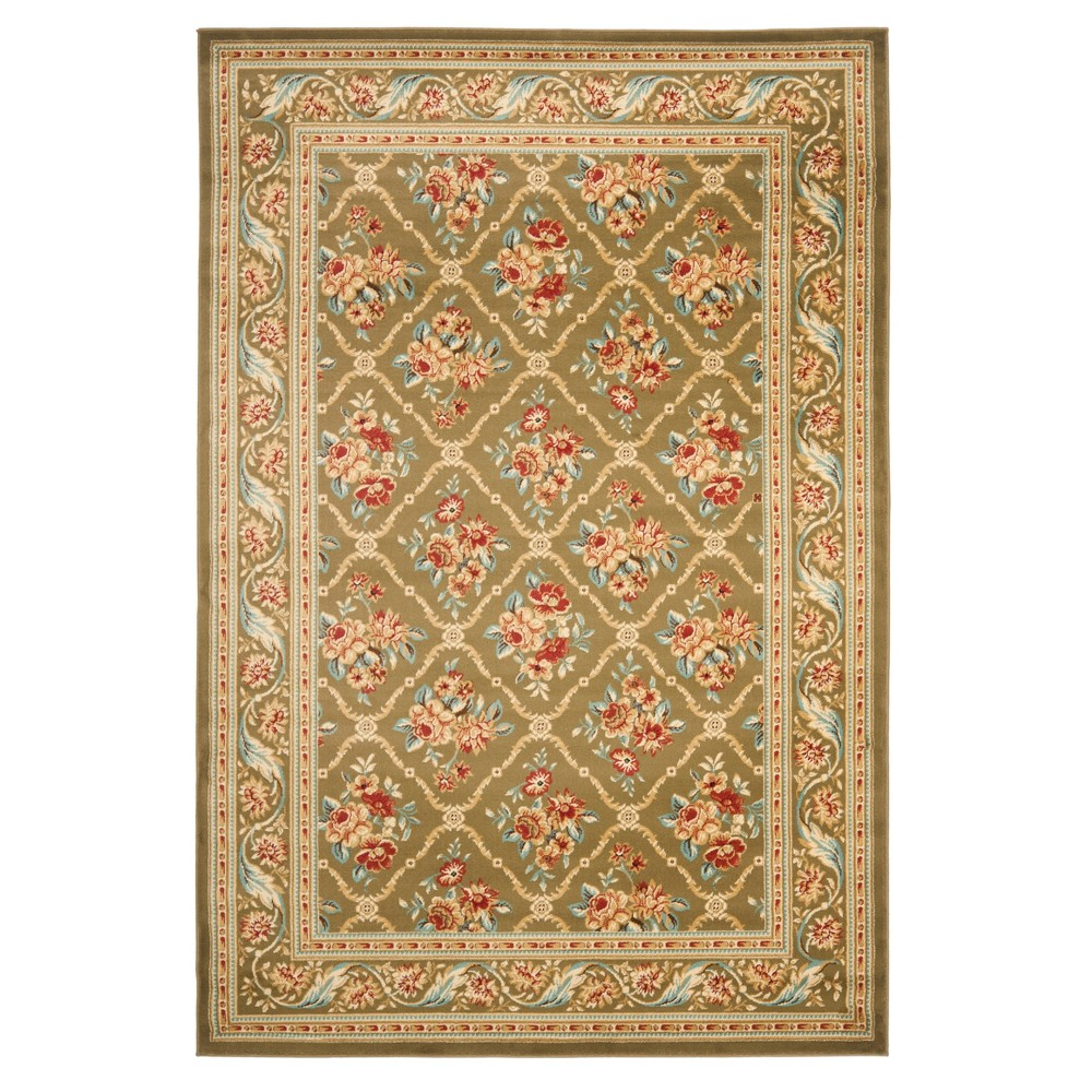 Green Floral Loomed Area Rug 5'3
