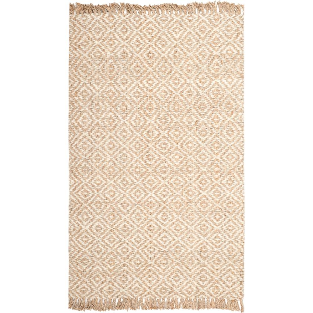 4'X6' Geometric Woven Area Rug Natural/Ivory - Safavieh, White