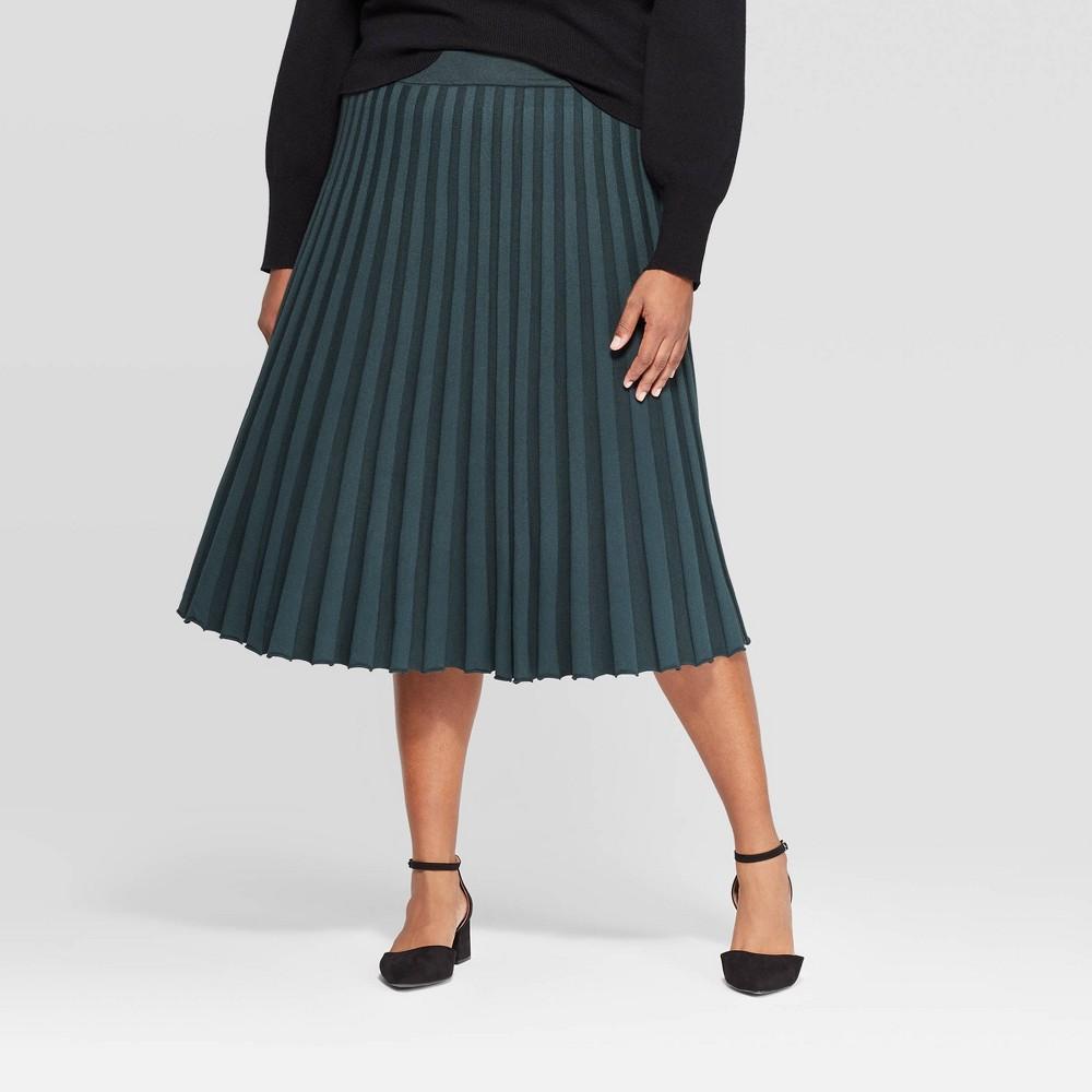 Image of Women's Plus Size Midi Sweater Skirt - A New Day Dark Green 4X, Size: 4XL