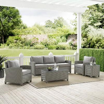 Bradenton 5pc Outdoor Wicker Sofa Conversation Set - Gray - Crosley