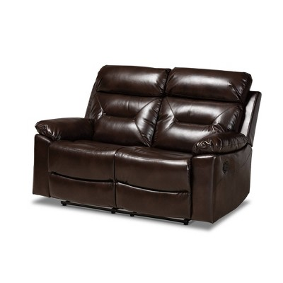 Byron Faux Leather 2 Seater Reclining Loveseat Dark Brown - Baxton Studio