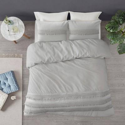 King/California King Roselle 3pc Cotton Seersucker Duvet Cover Set - Gray