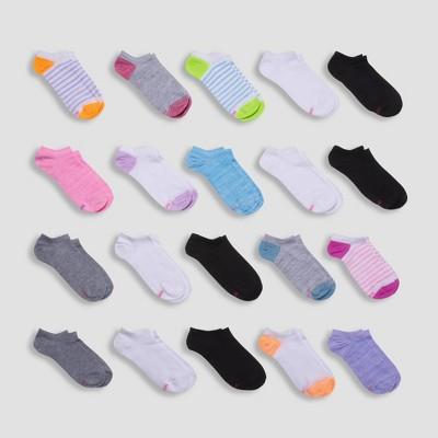 Hanes Girls' 20pk Super No Show Socks - Colors May Vary