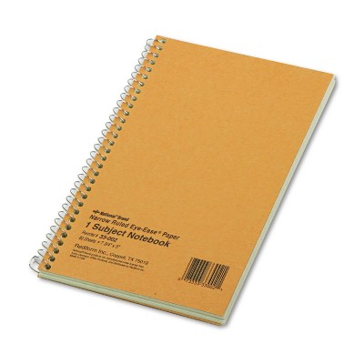 National Subject Wirebound Notebook Narrow Rule 5 x 7 3/4 Green 80 Sheets 33002