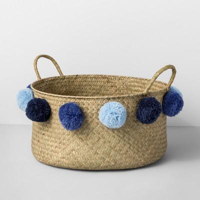 Seagrass Pom Basket - Natural/Blue - Opalhouse™
