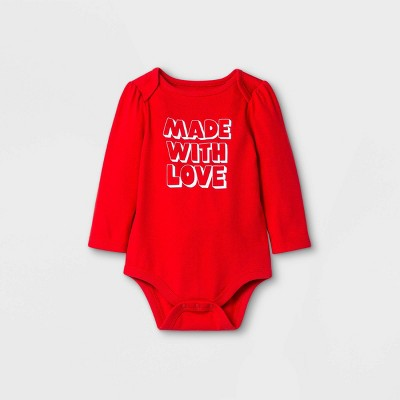 Baby 'Made With Love' Long Sleeve Bodysuit - Cat & Jack™ Red Newborn