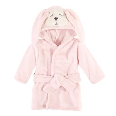 Hudson Baby Infant Girl Plush Animal Face Bathrobe, Modern Bunny, 0-9 Months