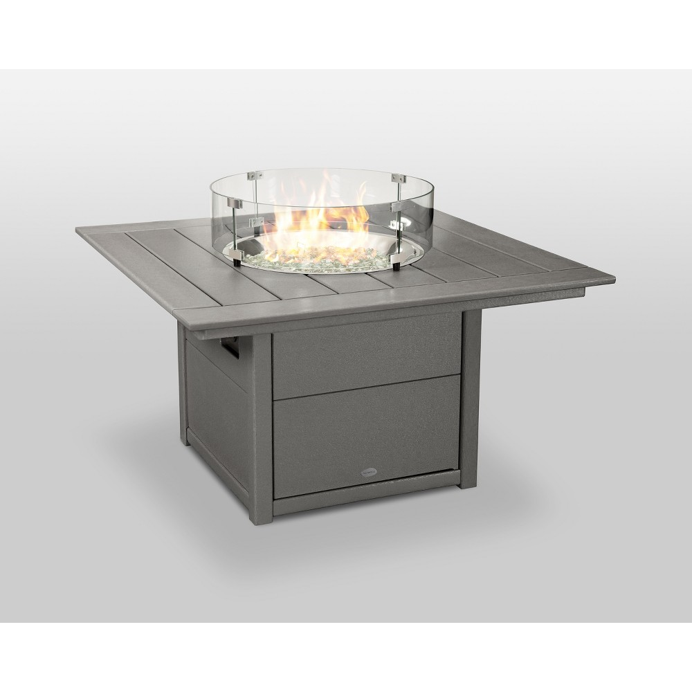 "Image of ""POLYWOOD 42"""" Fire Pit Table - Square - Slate Gray, Grey Gray"""