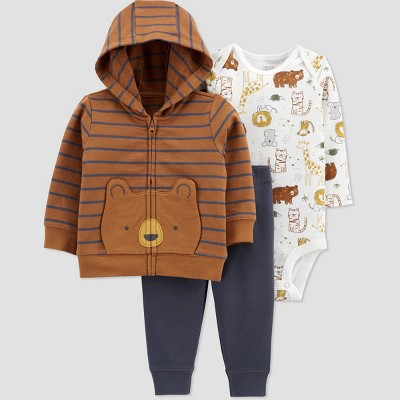 Baby Boys' Bear Cardigan Fleece Long Sleeve Top & Bottom Set - Just One You® made by carter's Brown Newborn