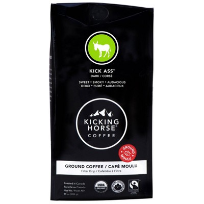 Kicking Horse Coffee Kick *** Dark Roast Fair Trade Certified Organic Ground Coffee - 10oz