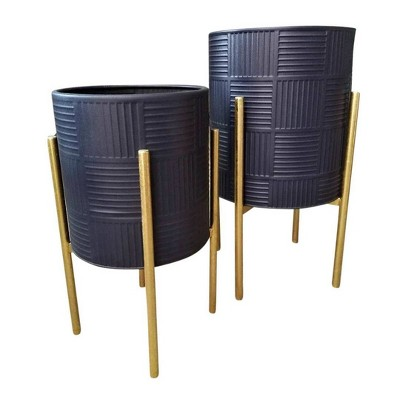 Set of 2 Planter with Lines on Metal Stand Black/Gold - Sagebrook Home