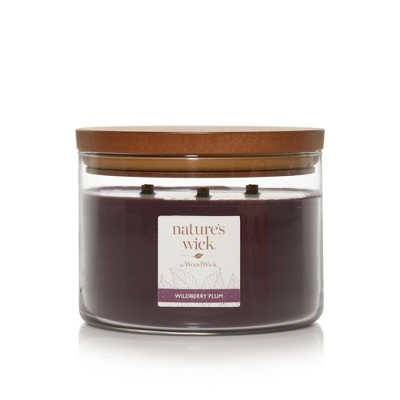 Lidded Glass Jar Crackling Wooden Wick Wildberry Plum Candle - Nature's Wick