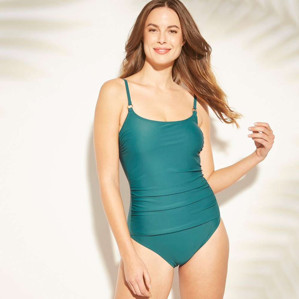 6465052995aa Womens Shirred Strappy Back One Piece Swimsuit Kona Sol Teal Blue L