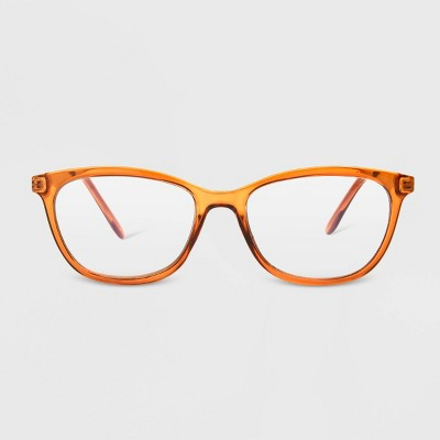 Women's Blue Light Filtering Butterfly Glasses - A New Day™ Peach Orange