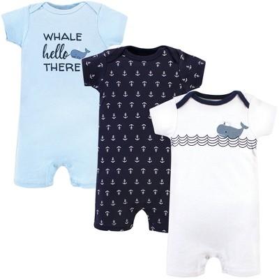 Hudson Baby Infant Boy Cotton Rompers 3pk, Sailor Whale