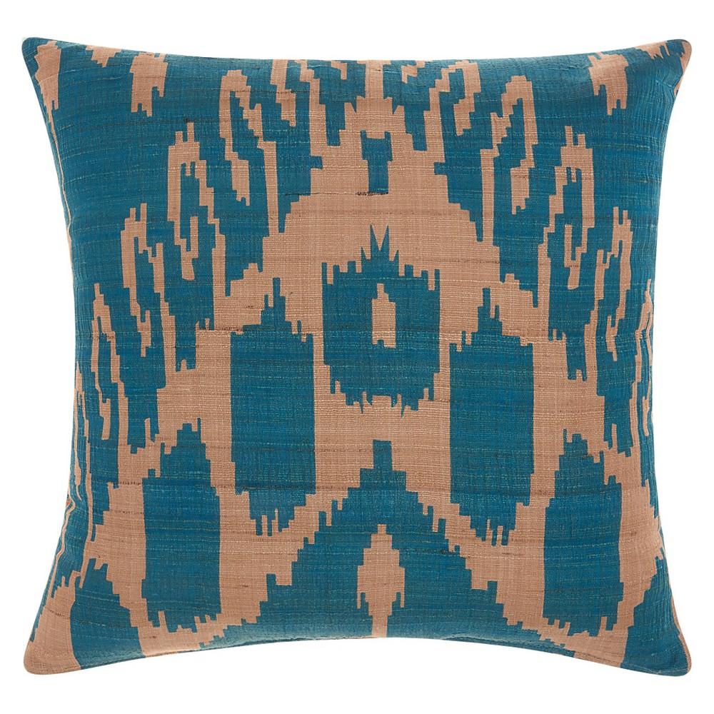 Blue Raw Silk Ikat Throw Pillow Life Styles (18