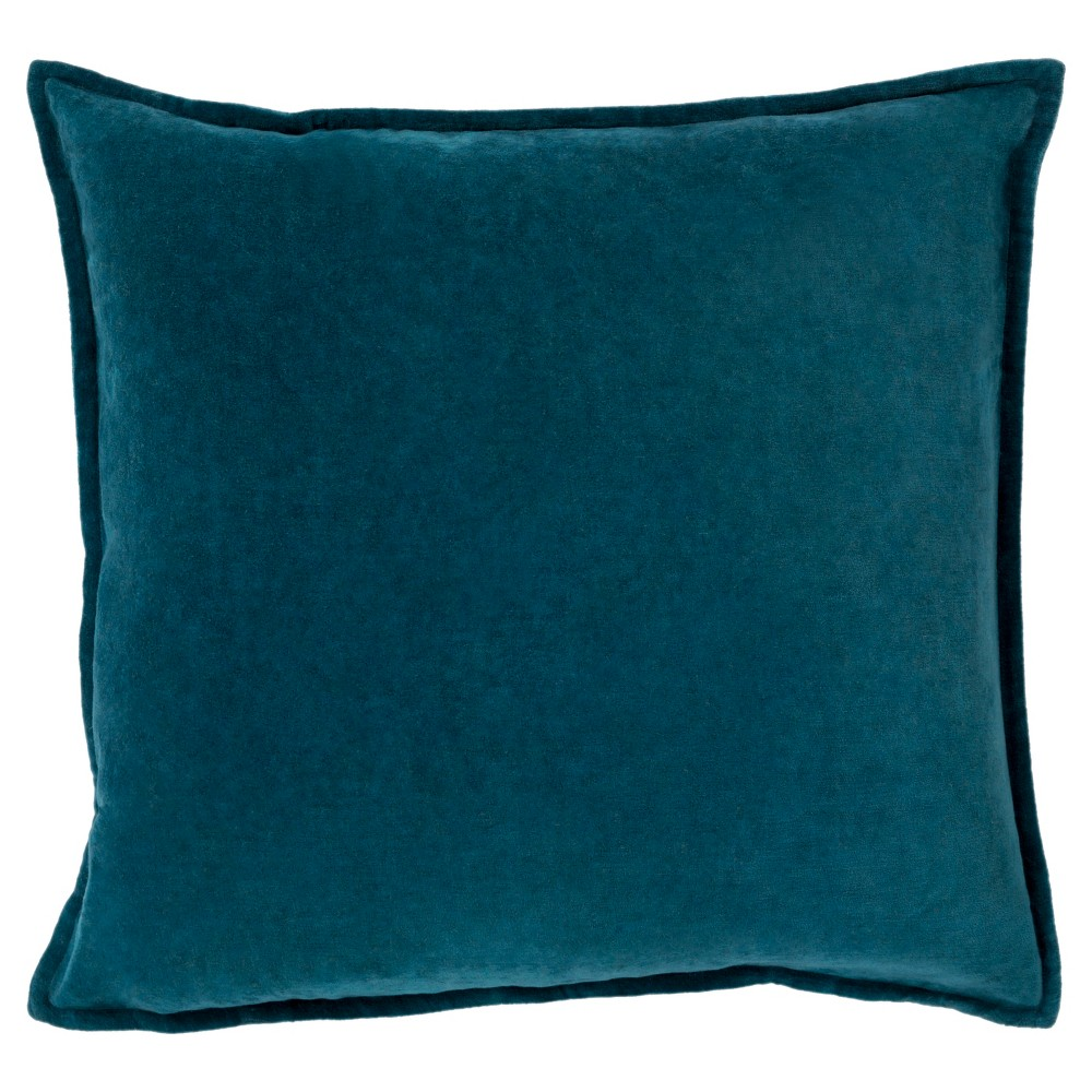 Teal (Blue) Velvet Solid Throw Pillow - Surya
