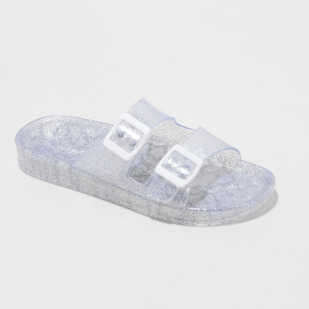 Image of Girls' Susan Glitter Jelly Slide Sandals - Cat & Jack Silver M, Girl's, Size: Medium