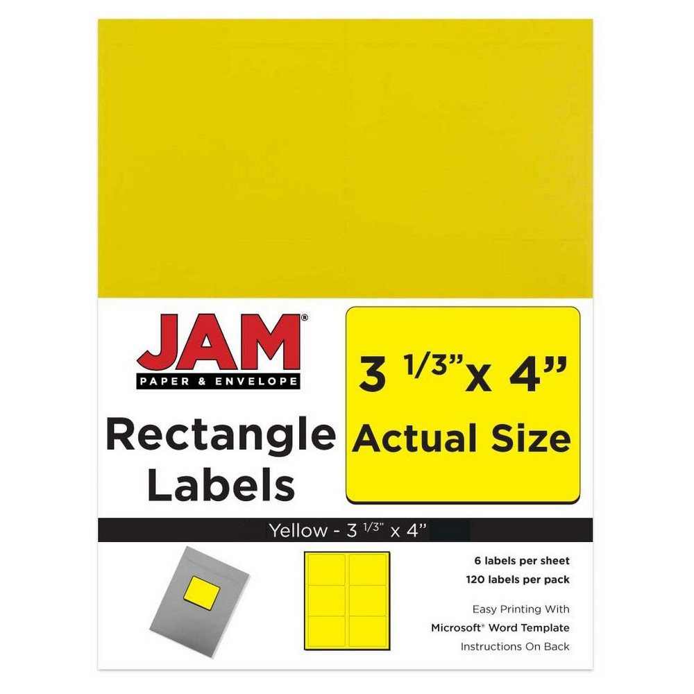Jam Paper Mailing Labels 3 1/3 x 4 120ct - Yellow
