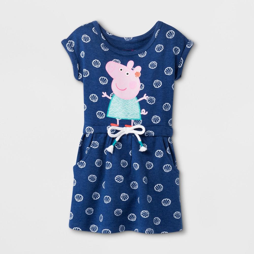 Image of petiteToddler Girls' Peppa Pig Short Sleeve Drawstring Dress - Blue 2T, Girl's
