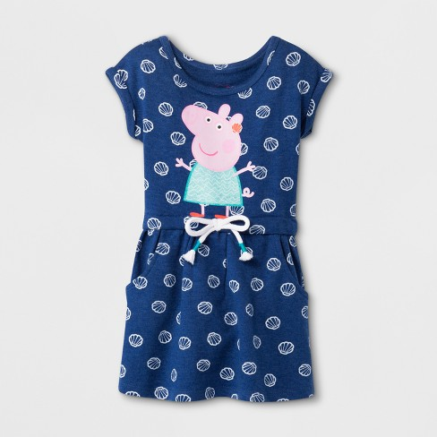 609098547 Toddler Girls' Peppa Pig Short Sleeve Drawstring Dress - Blue : Target