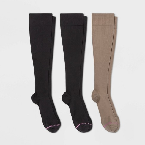 Dr. Motion Women's Mild Compression 3pk Knee High Socks - Black/Beige - image 1 of 2