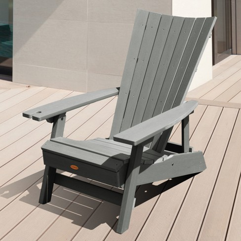Manhattan Beach Adirondack Chair With Wine Gl Holder Coastal Teak Gray Highwood Target