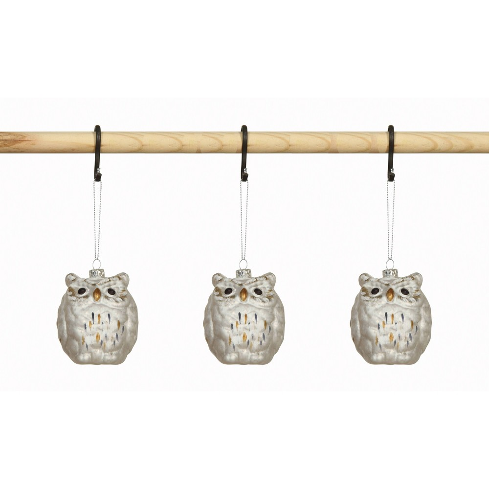 "Image of ""3.5"""" Glass Owl Ornament White - 3R Studios"""