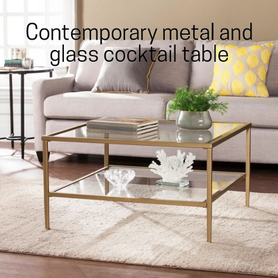 Emerson Square Open Shelf Cocktail Table Gold - Aiden Lane : Target