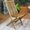 Sunnydaze Outdoor Solid Teak Wood with Light Stained Finish Hyannis Folding Dining Chair - Light Brown - image 2 of 4
