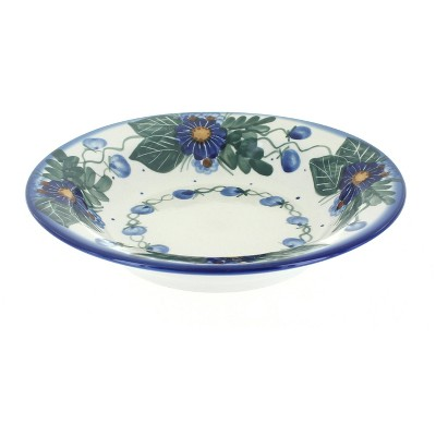 Blue Rose Polish Pottery Forget Me Not Soup Plate with Rim