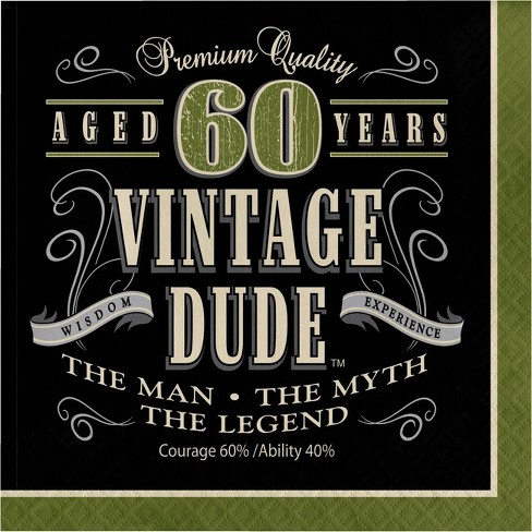 48ct Vintage Dude 60th Birthday Napkins Green - image 1 of 3