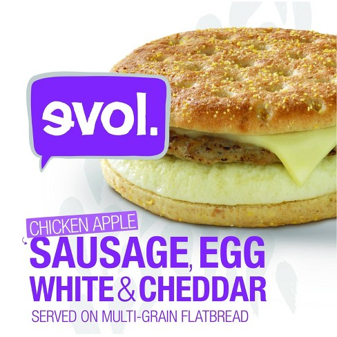Evol Chicken Apple Sausage-Egg White & Cheddar Multi-Grain Flatbread Breakfast Frozen Sandwich - 4oz - image 1 of 2