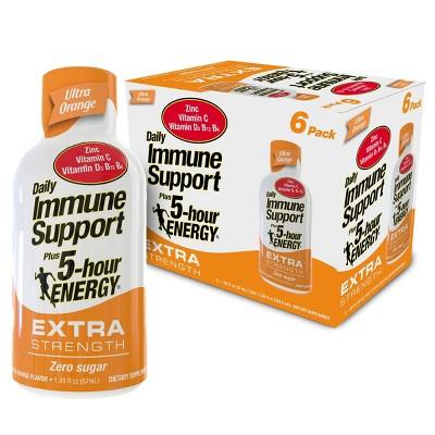 5 Hour Energy Extra Strength Daily Immune Support Shot - Ultra Orange - 6pk