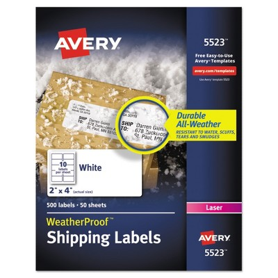 Avery® 2 x 4 Weatherproof Laser Shipping Labels - White (500 pk)