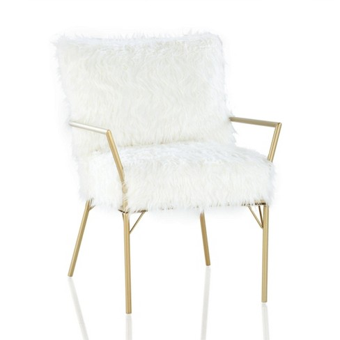Terrific Sully Accent Chair With Faux Fur Cushions White Cosmoliving By Cosmopolitan Machost Co Dining Chair Design Ideas Machostcouk