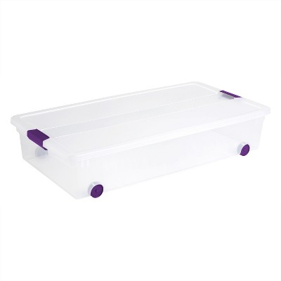 Sterilite® ClearView Latch Underbed Storage Bin Clear with Purple Latch 60qt
