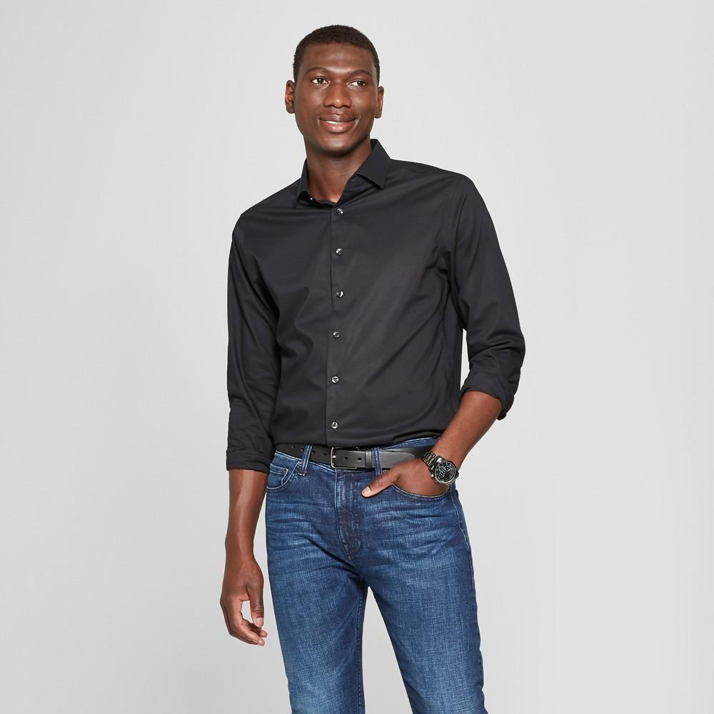 Men's Standard Fit Long Sleeve Button-Down Dress Shirt - Goodfellow & Co Black L