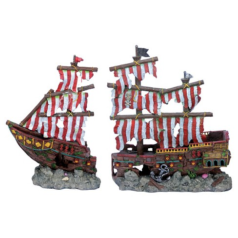 Penn-Plax Striped Sail Shipwreck Set Aquarium Sculptures - image 1 of 1