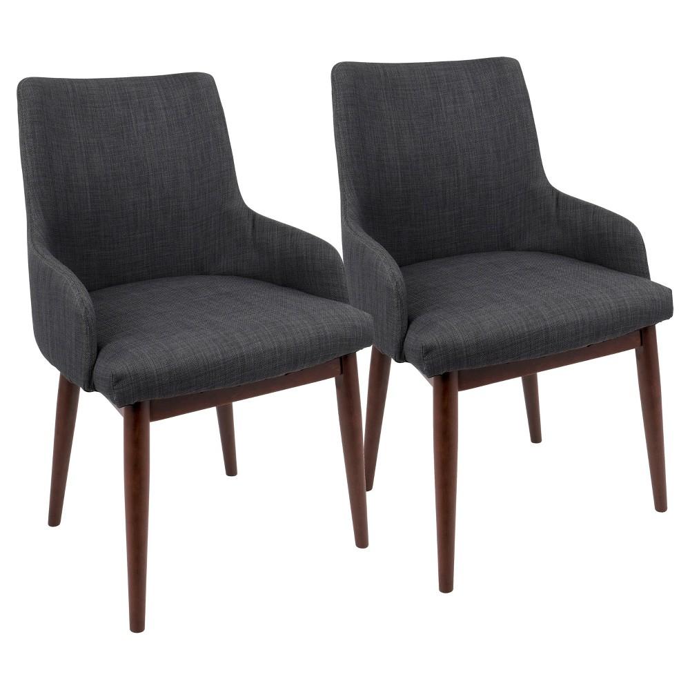 Santiago Mid Century Modern DiningAccent Chair - Charcoal (Grey) (Set of 2) Lumisource
