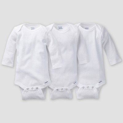 Gerber Baby 3pk Long Sleeve Onesies - White 12M