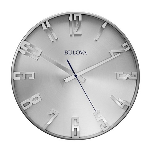 Bulvoa Clocks C4846 Director 16 Inch Slim Metal Analog Wall Clock, Satin Pewter - image 1 of 1