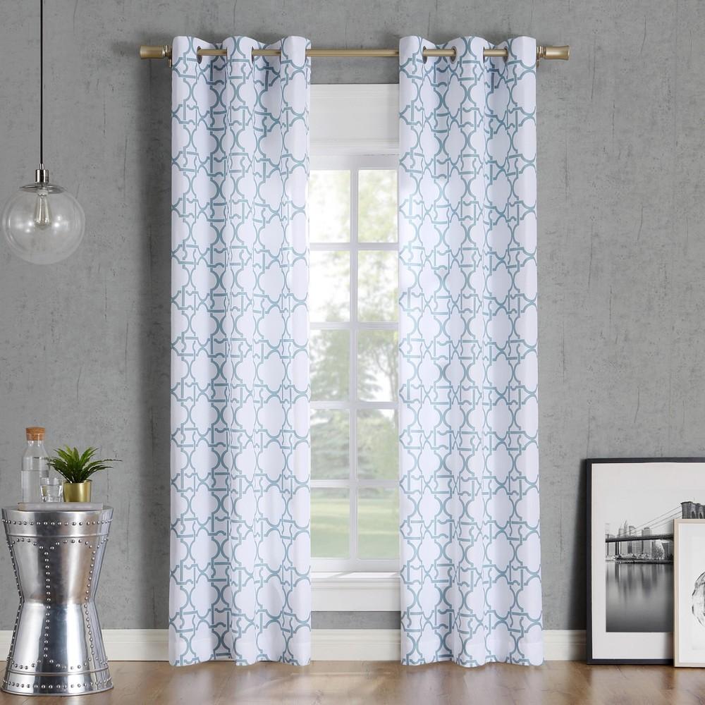Image of 40x63 Barkley Trellis Semi-Sheer Grommet Curtain Panel Aqua-No. 918, Blue