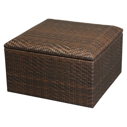 Richmond Wicker Patio Storage Ottoman- Brown - Christopher Knight Home - image 1 of 4