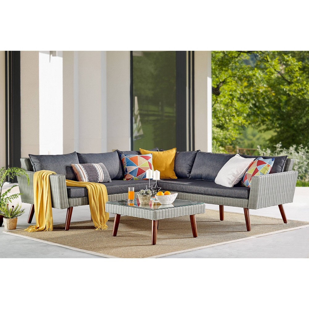 Image of 2pc All-Weather Wicker Albany Outdoor Corner Sectional Sofa with Coffee Table Brown - Alaterre Furniture